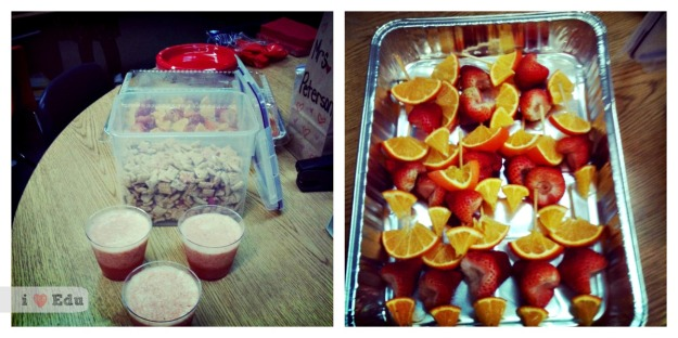 Our healthy treats are strawberry smoothies, valentines chex mix and heart shaped fruit skewers.